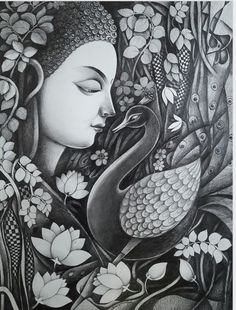 Buy Buddha With Nature Painting at Lowest Price by Sanjay Tandekar Dark Art Drawings, Art Drawings Sketches Simple, Nature Sketches Pencil, Zantangle Art, Buddha Artwork, Indian Art Gallery, Mandala Art Lesson, Indian Folk Art, Indian Art Paintings