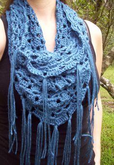Crochet Triangular Cowl, Boho Badana Style, Blanket Scarf; Teal, Blue, Turquoise Shawl