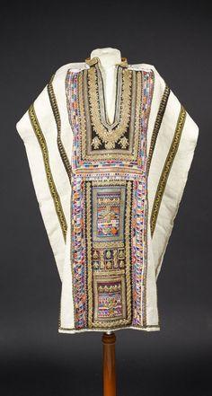 Tunisia | Tunic ~ kiwa al-kabira ~ cotton and linen; embroidered