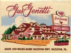Gus Genetti Hotel - Motel by jericl cat, via Flickr - photo of a vintage matchbook