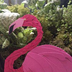 Paper Animals, Paper Illustration, Pink Paper, Flamingo, Baby Car Seats, Custom Design, Wall Art, Handmade, Etsy