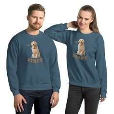 A Golden Retriever Staff sweatshirt is bound to keep you warm in the colder months when you are out with your best friend. Dog Wear, Your Best Friend, Dog Mom, Yorkie, Mom And Dad, Rib Knit, Dog Lovers, Dads, Graphic Sweatshirt