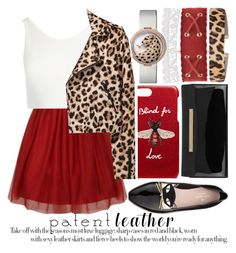 """""""CITY SLICKERS: PATENT LEATHER"""" by noraaaaaaaaa ❤ liked on Polyvore featuring Kate Spade, Jimmy Choo, Gucci, Accessorize, Sans Souci, patentleather and LeopardPrint"""