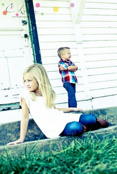 Serious Siblings shot by C. Linz Photography - my kids are a little older...but the pose would still work!