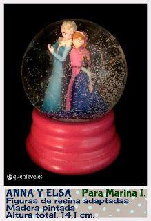 Anna & Elsa. Hand made snow globe by Quenieve