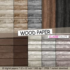 """Wood digital paper: """"WOOD PAPER"""" with distressed wood background, wood texture, rustic wood, scrapbooking wood, wood photography backdrop by clairetale. Explore more products on http://clairetale.etsy.com"""