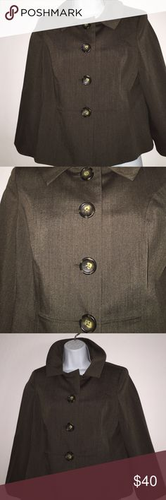 Banana Republic jacket Sz med petite NWT Beautiful cut wool polyester blend jacket. Perfectly tailored with 4 large button front fully lined for added comfort and fit. Great for fall days with pants jeans dresses or skirt. Dress for success. Size medium petite.NWT Banana Republic Jackets & Coats