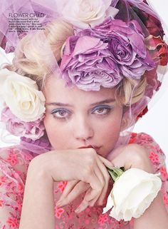 Sky Ferreira Teen Vogue May 2014 Tough Love Photographer Josh Olins  Styled By Brandon Maxwell Floral Headpiece Veil  Blue Eye...