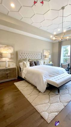 Master bedroom with ceiling molding design Beautiful tufted headboard, neutral colored bedding, gold chandelier, and ceiling trim design detail.  Click to see more model home tour design ideas & decorate your own home like a pro...  THE DECORATING COACH  #masterbedroom<br> Learn how to Decorate your home like a pro. Discover professional decorating strategies to create model-home worthy style with ease. Tips for Staging your home to sell. Online decorating advice. Ceiling Design Living Room, Bedroom False Ceiling Design, Master Bedroom Interior, Home Interior, Home Decor Bedroom, Living Room Designs, Master Bedroom Decorating Ideas, Master Bedrooms, Master Bedroom Color Ideas