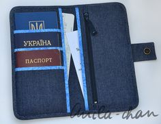Travel wallet, denim travel holder, jeans passport wallet, personalized passport holder, travel document organizer
