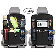 Backseat Car Organizer with 10 iPad Tablet Holder 11 Storage Pockets for Toys Book Bottle Drink Auto Seat Back Protector Kick Mats Universal Fit Great Travel Accessories for Kids Black 2 Pack