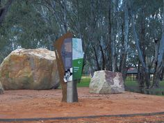 Our Bullawah Cultural Heritage Trail signage features angled panels, laser cut motifs, bold illustrations and colours reflective of the environment. Signage, Trail, Colours, City, Outdoor Decor, Artwork, Design, Work Of Art