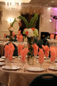 Peach White And Green Wedding Reception Decor At Magnolia Manor By Abba Designs Visions