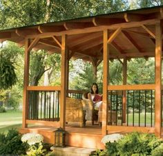 An easy-to-build hip roof makes this backyard gazebo a project any DIYer can learn how to build. This backyard shelter is an outdoor project that provides a great place to entertain. Gazebo Plans, Gazebo Pergola, Garden Gazebo, Backyard Hammock, Gazebo Ideas, Backyard Patio, Outdoor Areas, Outdoor Rooms, Outdoor Living