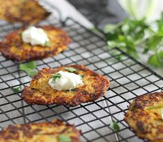 These spaghetti squash latkes are spiced up with a little jalapeno and made a bit healthier with squash instead of potatoes.