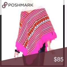 Neon pink, orange, blk white poncho w/silver studs Made by an upcycling clothing designer. This is a one of a kind garment. Boutiquebunique.com Sweaters Shrugs & Ponchos