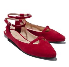Red Flats with Ankle Straps.