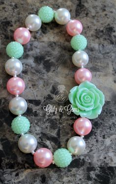 Chunky Bubble Gum Bead Necklace on elastic cord flower green pink white www.facebook.com/GlitzGems