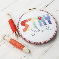 Stay Safe, Rainbow Cross Stitch Hoop Kit - kit with glue