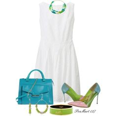 White Dress Pop of Color Turquoise/Lime Green #PolyvorePlus by penny-martin on Polyvore featuring Uniqlo, STELLA McCARTNEY, Studio Pollini, Hermès and Kenneth Cole