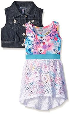 Kensie Girls Big Girls Denim Vested Maxi Dress Multi 810 -- More info could be found at the image url.