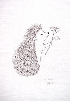 Yes! @Rachael Guarnieri  Hedgehog with Flower Original Ink Drawing Print Love Illustration Woodland Rustic Home Wall Decor Black & White 5x7 Simple Modern Art MiKa