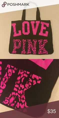 """💋 VS PINK Cheetah Tote 💋 💋VS PINK Cheetah Tote💋  ♡ Super cute Blk & pink tote ♡ Totally open - No pockets ♡ 22""""(L) x 18""""(H) PINK Victoria's Secret Bags Totes"""