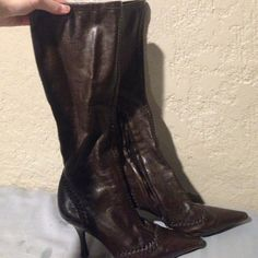 Worn rarely. Never use them anymore! Dark brown leather heels; super comfy, pointy toed BCBGirls Shoes Heeled Boots