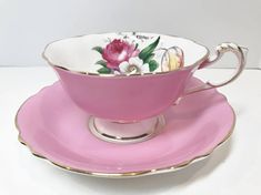 Antique Paragon Tea Cup and Saucer Pink Paragon Cups Double