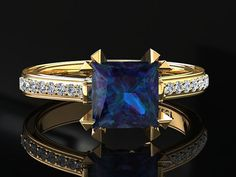 Alexandrite Engagement Ring Princess Cut by WinterFineJewelry