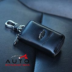 Car KeyChain Cover Premium Leather Key Chain Coin Holder Keyring Hook Wallet Zipper Case Remote Smart Key Fob Alarm Security Chevrolet Chevy -- Find out more about the great product at the image link.