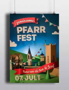 Paper Craft Poster Pfarrfest by Christian Solf, via Behance