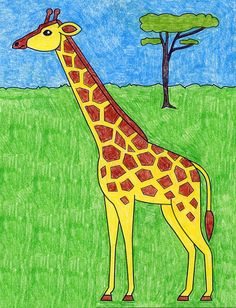 Easy Giraffe Drawing, Baby Animal Drawings, Giraffe Painting, Giraffe Art, Giraffes, How To Draw Giraffe, Easy Art For Kids, Easy Drawings For Kids, Drawing For Kids