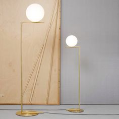 IC LIGHTS F designed by Michael Anastassiades, 2014  This collection explores balance. There is a series of lights: table lights, wall lights, ceiling pendants and ceiling mounted lights which take as their basic form a sphere that is perfectly balanced on the edge of a rod.