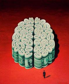 Money on the brain, clever illustration Satire, Digital Art Illustration, Brain Illustration, Creative Illustration, Money On My Mind, Satirical Illustrations, Visual Metaphor, Political Art, Political Cartoons