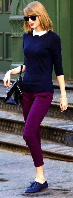 Taylor Swift ; Leaving her apartment building, New York, April 2014 ; Zara oxfords, Ann Taylor Sweater, Ray Ban sunglasses & Cuore & Pelle bag