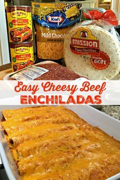 EASY CHEESY BEEF ENCHILADAS (4 INGREDIENTS) - Sweet Little Bluebird Seafood Recipes, Mexican Food Recipes, Cooking Recipes, Recipes Dinner, Healthy Recipes, Easy Recipes, Chicken Recipes, Healthy Chicken, Baked Chicken