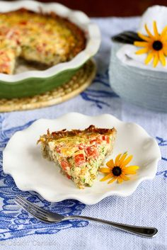 Healthy Potato-Crusted Vegetarian Quiche: Crust: 2 3/4 cups peeled & grated russet potato (about 1 lb. potatoes) 1 tbsp olive oil 1/2 tsp salt 1/2 tsp ground pepper The quiche: 3 eggs 1 egg white 2/3 cup low-fat (1%) milk 3/4 tsp smoked paprika 1/2 tsp salt 1/4 tsp ground pepper 1 cup grated zucchini 1/2 cup chopped tomato 1/4 cup crumbled feta cheese 1 green onion, thinly sliced