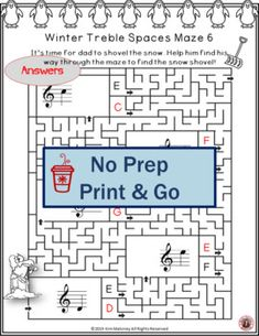 This BUNDLE from Music Teacher Resources contains 36 WINTER themed music mazes based on the pitch of the treble lines and spaces. For each question box in the maze there are two answer boxes. If the correct answer is selected, the maze leads to the next question box, but if the incorrect answer is chosen, the maze leads to a dead end. Teacher instructions are included. No prep, just print and go! ♫ ♫ #musiceducation #mtr