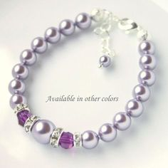Flower Girl Bracelet Purple Bracelet by alexandreasjewels on Etsy, $16.00