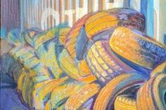 Tires, 2010 Oil on Burlap 42 in x 82 in $5,140