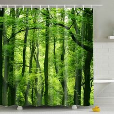 Hot Sale Eco-Friendly Green Woods Printing Shower Curtain For Bathroom (COLORMIX) in Bathroom Products | DressLily.com