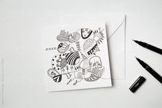 Home-made greeting card with doodle image by CatMacBride | Stocksy United
