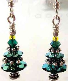 Victorian Swarovski Christmas Tree Earrings Kit - Emerald-AB