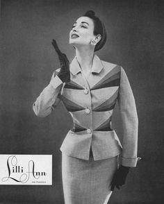 Dorian Leigh in Lilli Ann.  Harper's Bazaar, September 1954.