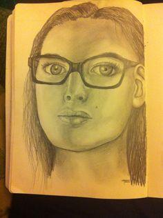Portrait drawn from a magazine photo