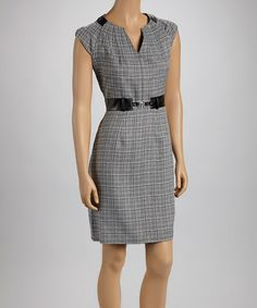 Take a look at this Black & White Plaid Cap-Sleeve Dress by Shelby & Palmer on #zulily today!