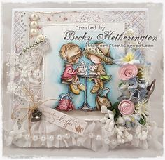 Card by LLC DT Member Becky Hetherington, using papers from Maja Design's Coffee in the Arbour collection, Image from LOTV.