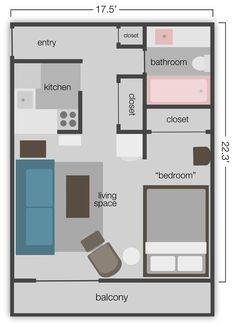 390 sq. ft. Studio  Apt. Floor Plan- one I'll have is 350, but good idea for layout