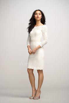 bateau neck little white lace designer short sheath bridesmaid dress